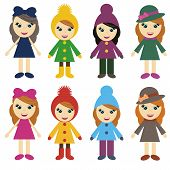girls in different clothes on white background