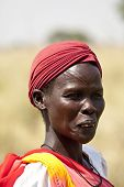 LILIIR, SOUTH SUDAN- DECEMBER 4 2010: Unidentified Dinka woman with tribal scarification in South Su