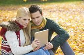 Couple using digital tablet together in park during autumn