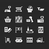 Set Icons Of Retail And Supermarket Equipment