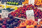 Fresh Organic Peaches At Local Market In Poland.
