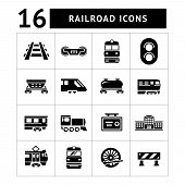image of passenger ship  - Set icons of railroad and train isolated on white - JPG