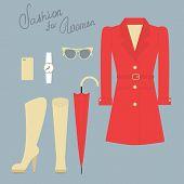 Fashion set of elegant female clothes for autumn