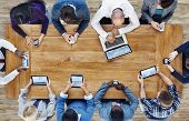 image of communication people  - Group of Business People Using Digital Devices - JPG