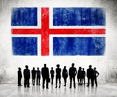 Silhouettes of Business People and a Flag of Iceland