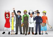 Diverse Multiethnic Children with Different Jobs