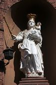 MILTENBERG, GERMANY - 20 JULY: Madonna with child Jesus, statue on the main street of Miltenberg in