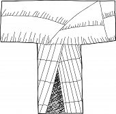 picture of wigwams  - Letter T as wigwam in black outline - JPG