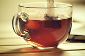 Closeup Of The Cup Of Hot Black Tea