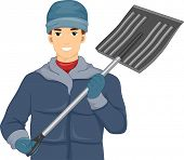 Illustration of a Man Holding a Shovel for Removing Snow