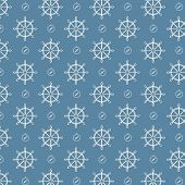 Vector Seamless Pattern Ship Wheels And Compass