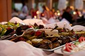 Grilled Vegetables In Restaurant Buffet With Diners