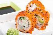 Sushi rolls with crab meat