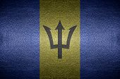 Closeup Screen Barbados Flag Concept On Pvc Leather For Background