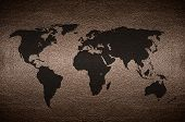 Closeup Screen World Map Flag Concept On Pvc Leather For Background