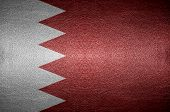 Closeup Screen Bahrain Flag Concept On Pvc Leather For Background