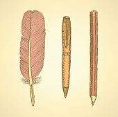 Sketch Cute Pen, Feather And Pencil In Vintage Style