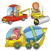 set of construction vehicle animal cartoon.