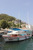 Yachts and boats moored in the port of Fethiye