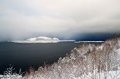 Snow storm approaching from the sea.