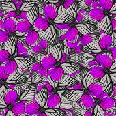 Exotic Of Violet Background Pattern Made Of Fancy Red-spot Sawtooth Butterflies