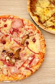 Appetizing Pizza With Mushrooms And Ham