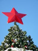 Red Star On Top Of The Tree. Christmas Decoration