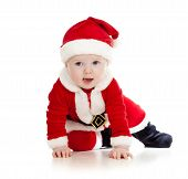 stock photo of santa baby  - crawling baby boy weared as Santa Claus - JPG
