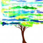 Watercolor style vector illustration of a tree