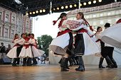 ZAGREB, CROATIA - JULY 19: Folk group Mississauga, Ontario, Croatian parish folk group Sljeme from Canada during the 48th International Folklore Festival in center of Zagreb, Croatia on July 19, 2014
