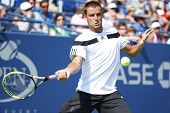 Professional tennis player Mikhail Youzhny during fourth round match at US Open 2013