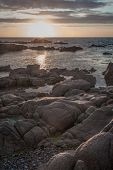 Sunset over Rockpool On Jersey, channel island in the english channel