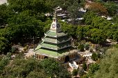 The View From The Top Of The Pagoda Looks Out On Green Pagoda.