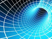 The blue abstract 3d tunnel from a grid