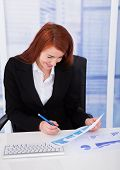 Businesswoman Analyzing Graph At Desk