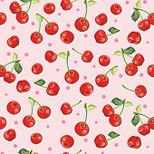 Beautiful seamless pattern with Red Cherries, graphics vector illustration