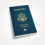 vector blue leather USA passport