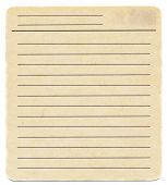 Dirty Old Yellowing Blank Index Paper Card Isolated On White