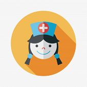 Medicine Nurses Flat Icon With Long Shadow