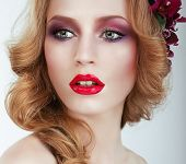 Visage. Gorgeous Woman With Professional Evening Make Up
