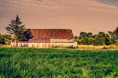 image of barn house  - Old abandoned barn an early morning at a countryside - JPG