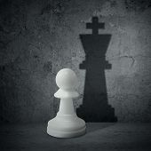White Chess Pawn With Shadow Queen