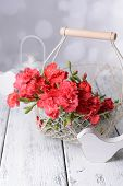 Flowers in basket on bright background