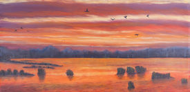 picture of marshlands  - Painting of a sunset over marshland birds in the sky - JPG