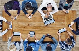 pic of seminar  - Group of Business People Using Digital Devices - JPG