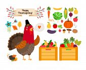 Harvest clip art. Vector fruits, vegetables for Thanksgiving and menu