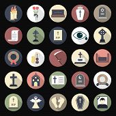 stock photo of hearse  - Funeral icons in flat style on colored circles - JPG