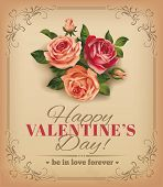 Valentine vintage card with rose bouquet. Vector eps 10.