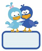 Two birds with sign