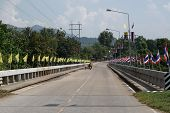 Thai And King Flags Decorated On The Bridge